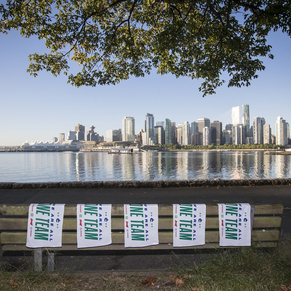 VANCOUVER, BC - JULY 29, 2020:  The Vancouver Canucks place towels around the city of Vancouver in support of the Canucks 2020 NHL Playoff run on July 29th, 2020 in Vancouver, British Columbia, Canada.  (Photo by Devin Manky)